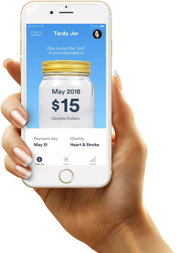 Hand holding an iPhone, showing the Time is Money app's Tardy Jar screen, which features the monthly total of Dawdle Dollars, when the payment is due, and the charity selected.