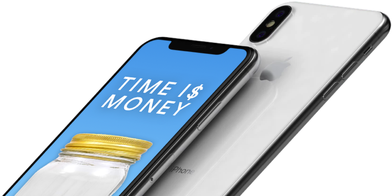 iPhones showing the Time is Money app home screen.