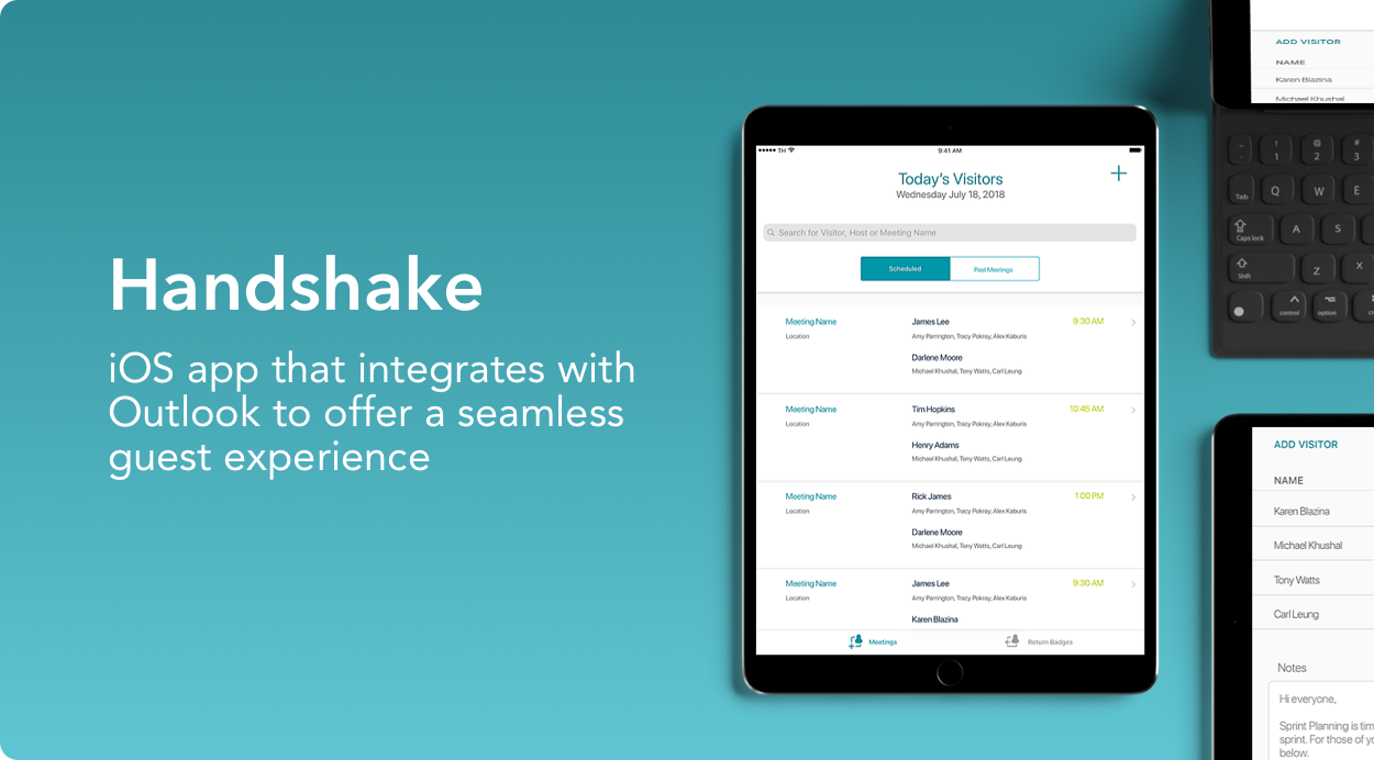 Handshake project, an iOS app that integrates with Outlook to offer a seamless guest experience.